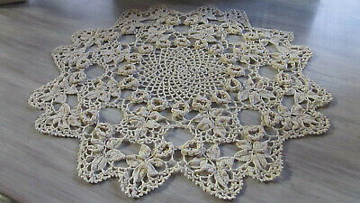 Large Vintage Hand Made Crocheted Doily Ecru  With Raised 3-D Roses Centerpiece
