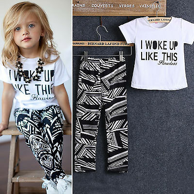 2PCS Set Toddler Kids Baby Girls Short Sleeve T-shirt Top Trouser Fashion Outfit