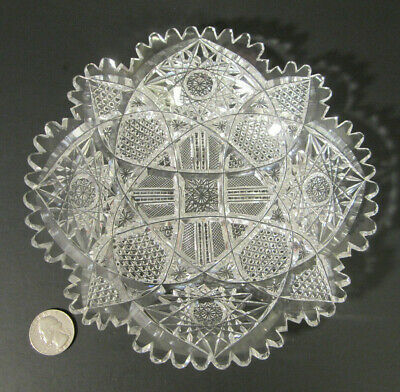 "Antique AMERICAN BRILLIANT Well Cut Glass HOBNAIL HOBSTAR Crystal 7.5"" Plate ABP"