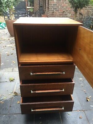 Art Deco Oak Tallboy/linen Press  Cupboard