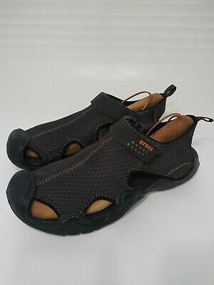 CROCS Mens Sz 12 Swiftwater Espresso Sandals Water Shoes MSRP $90 brown