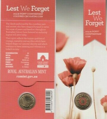 2015 $2 ANZAC 'Lest We Forget' Poppy Counterstamp UNC Coin on Card