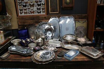 Bulk Vintage Antique Silver Plate Cutlery Tray Strachan Coaster Bowl Comport