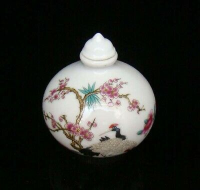 Collectible 100% Handmade Painting Porcelain Snuff Bottles Crane 22