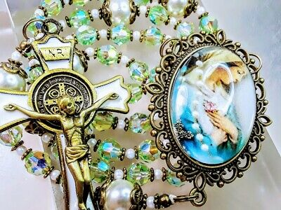 Beautiful Lt. Green Crystal Miraculous Cameo Rosary Made with SWAROVSKI Crystal