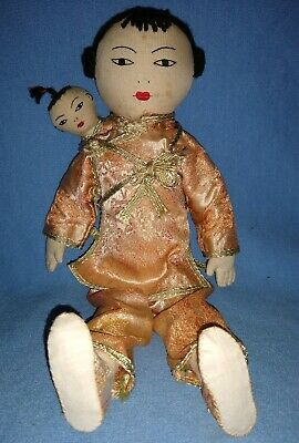 Vintage/antique Chinese Doll Mom And Baby Very Primitive Hand Stitched Fork