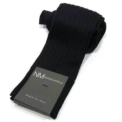 Neiman Marcus Mens OTC Ribbed Dress Socks Over-the-Calf Made in Italy Navy Blue