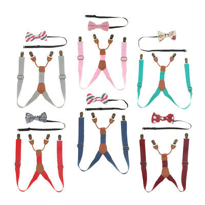 Adjustable Kids Braces Trousers Suspenders Bow Tie Boys Girls Wedding Party