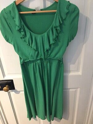 Maternity And Breastfeeding Dress Green Ruffle Front Small