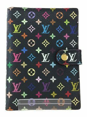 LOUIS VUITTON LV Multicolor Agenda PM Day Planner Cover Black R21076 Used Ex
