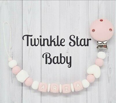 💟 Personalised Wooden Dummy Clip 💟 Baby Pink 💟 Girl 💟 Christening Gift 💟