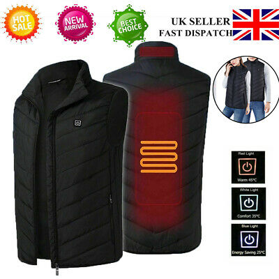 Women Mens Electric Vest Heated Cloth Jacket Warm Up USB Heating Pad Body Warmer