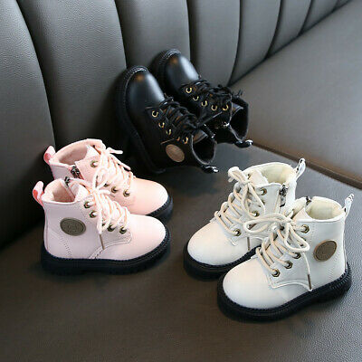 Toddler Baby Kids Boys Girls Solid Martin Shoes Winter Warm Lace-Up Ankle Boots