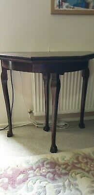 Antique Ball & Claw DEMI-LUNE CARD TABLE Cabriole Legs.Later Octagonal Pine Top