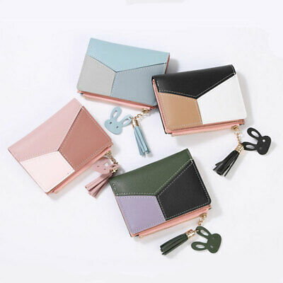 Women Short Leather Fashion Coin Wallet Purse Card Holder Bag Zipper Bifold Cute