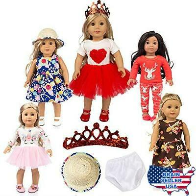 Unicorn for American Doll Clothes Pajamas Gifts 5 Sets , 18 inch Doll Clothes an