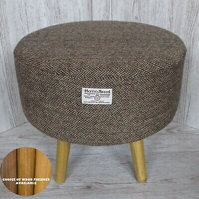 Harris Tweed Footstool Brown & Golden Beige Large Stool Choice of Wood Finishes