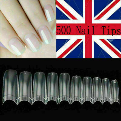500x  French False Nail Tips Art Acrylic Nails Natural Clear Coffin High Quality