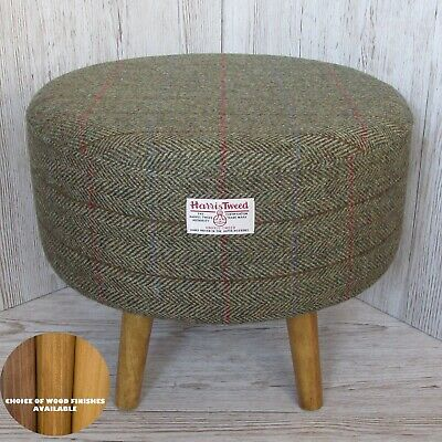 Harris Tweed Footstool Green & Fawn Herringbone Large Stool - Choose Wood Finish
