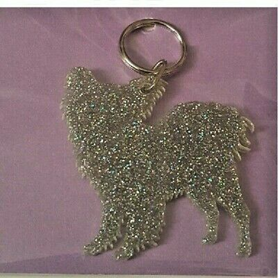 PUGGLE DOG ACRYLIC GLITTER KEYRING BAG CHARM GREAT LITTLE GIFT FAST DISPATCH