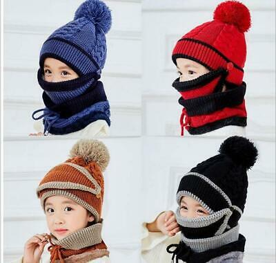 Knitted Beanie Scarf Mask Set Kids Girls Boys Warm Fleece Winter Ski Hat Pompom