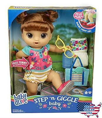 Baby Alive Step 'N Giggle Baby Brown Hair Doll with Light-Up Shoes, Responds wit