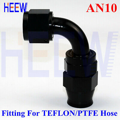 10-AN AN10 90 Degree Elbow Swivel PTFE E85 Fuel Stealth Line Hose End Fitting