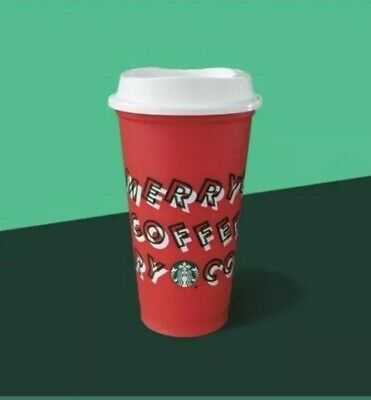Starbucks 2019 Red Reusable Cup Grande 16oz MERRY COFFEE Christmas 0.50 OFF DISC