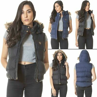 Womens Brave Soul Quilted Faux Fur Hooded Sleeveless Body Warmer Gilet Jacket