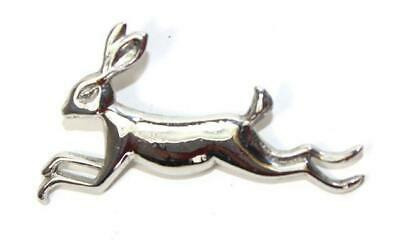 Large Leaping Hare Polished Pewter Scarf Sash Plaid Brooch - Made In Scotland