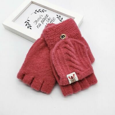 Children Kids Finger Less Mittens Winter Keep Warm Knit Convertible Flip Gloves