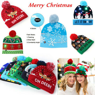 Christmas Beanie Hat LED Light Knitted Santa Cap XMAS Kids Adults Deer Snowman