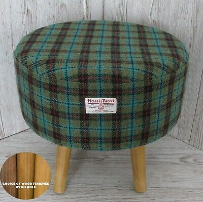 Harris Tweed Footstool Lovat Turquiose Check Large Stool Choice of Wood Finishes