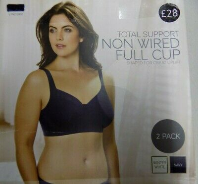 BNIB LADIES M/&S TOTAL SUPPORT NON WIRED FULL CUP NAVY EMBROIDERED BRA SIZE 36E