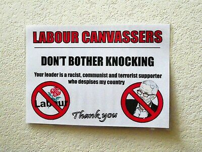 Anti Labour Party Anti Corbyn A5 Front Door Poster