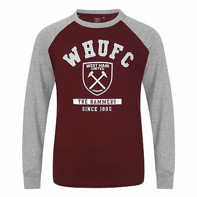 West Ham United FC Official Kid's Club LS T-Shirt - 10-11 Years - Claret - New