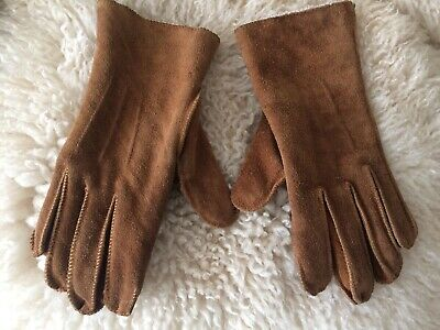 Pair Of Vintage Furry Lined Suede Warm Winter Gloves Size 7/8 Medium