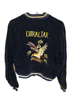 Vintage Sukajan 1950s Japan GIBRALTAR Reversible Velvet Satin Jacket Eagle Tiger