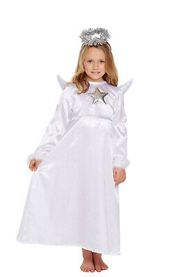 Children Christmas Girls White Halo Angel Costume With Fur Fancy Dress Outfit Uk