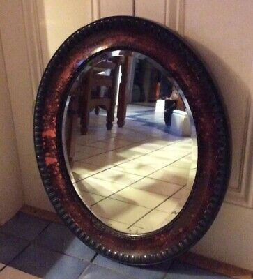"Antique Oval Wall Mirror. Bevelled. Possibly walnut )25"" X 22"". Beautiful Piece"