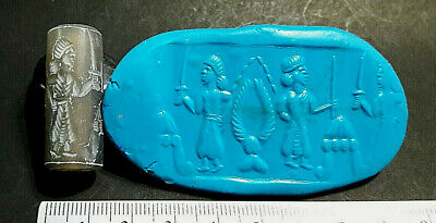 Antique Crystal Roman Knight Battling On Ship Intaglio Cylinder Seal Rolld Bead