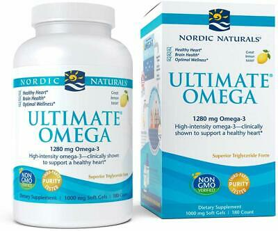 Nordic Naturals ULTIMATE OMEGA-3 180 Ct Lemon 1280mg Omega3, Ex 1/2022 or Better