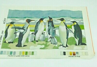 Hand Painted Needlepoint Pattern Designs by Vera Penguins Nature Pillow Art