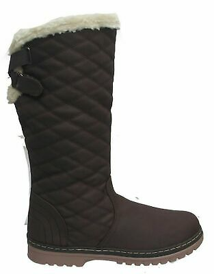 Ladies Girls Brown Warm Faux Fur Lined Mid Calf Winter Snow Boots Size 3