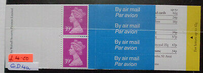 GD4a - GB 1992 Barcode Booklet MNH FV, Face 78p