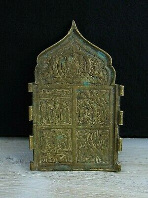 Antique 19th Russian Orthodox bronze Skladen icon.