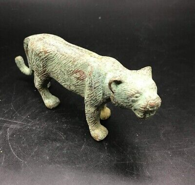 Rare Ancient Old Byzintine Bronze Roman Cheetah Animal On Hunting Postion Statue