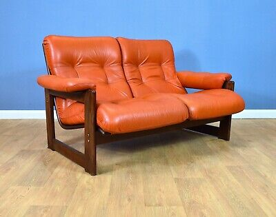 Mid Century Retro Norwegian Tan Leather High Back 2 Seat Sofa Settee 1960s 70s