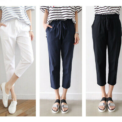 Women's Casual Pencil Trouser Slim Cropped Paper Bag Waist Pants with Pockets