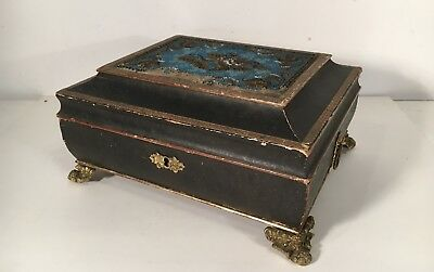Empire Biedermeier Little Box Casket with Sepia Boston USA Genre Scene Painting